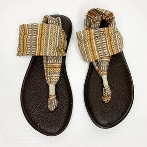 Sanuk Sling Sandals Woman's Size 8 Brown Tan Gray